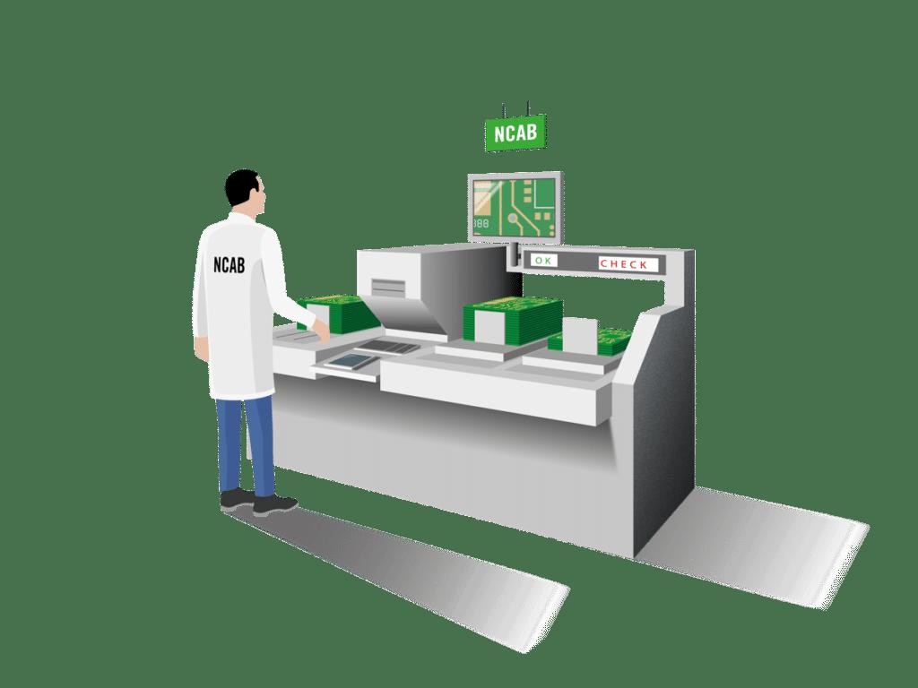 Illustration av NCAB anställd vid en maskin godkänd av NCAB Group.