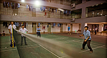 Factory employees playing badminton