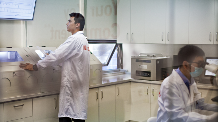 Technicians in the NCAB lab in China.