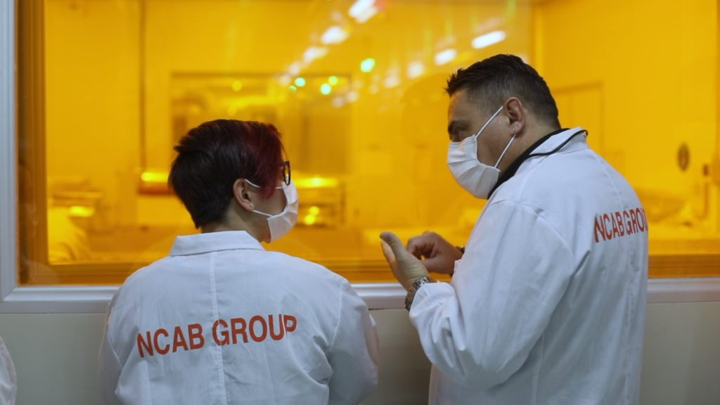 Michela Cianfriglia, Customer Support & Wolmer Cittadini, PPE Manager NCAB Group Italy in a PCB factory | NCAB Group