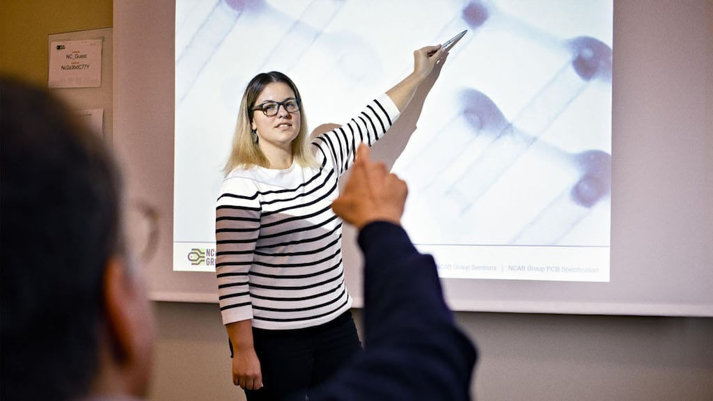 Nikolina Strezovska Dimidjijevski, PCB Enginner at NCAB Group Sweden during a seminar.