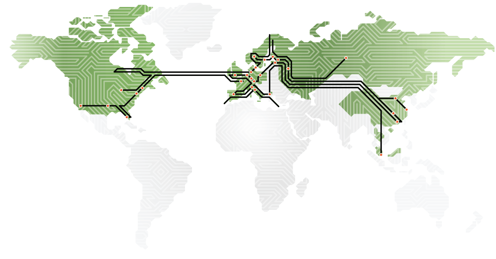 Map including NCAB Group companies all over the world